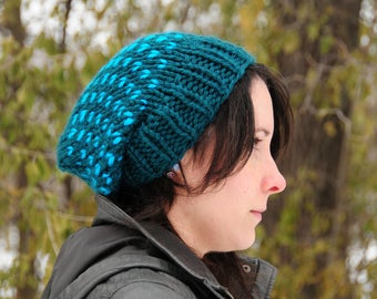 Teal knit hat, teal polka dot hat, teal hat, Hand knit hat, beanie, women's winter hat, gift for her, Christmas gift