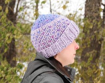 Purple hat, pink hat, polka dot hat, Hand knit hat, beanie, women's winter hat, gift for her, polka dot, Christmas gift