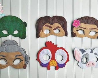 Moana inspired Masks. Moana, Maui, Tefiti, Grandma Tala, Hei Hei, Pua