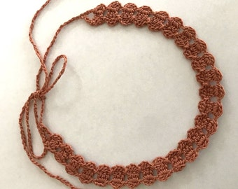Lace Choker or Headband - Copper Pink Color - Handmade Crochet - No Metal - Item N105