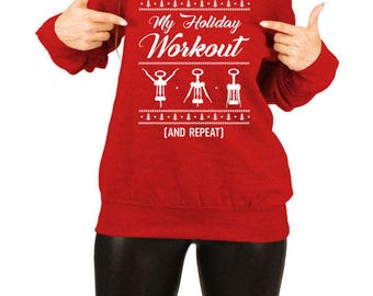 Funny Christmas Sweater Wine Gift Ideas For Her Xmas Present Holiday Pullover Wine Clothing Off The Shoulder Slouchy Sweatshirt TEP-525
