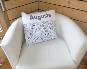 """Cushion cover """"stars"""" pillow case ON ORDER 40x40 cm with first name in cotton"""