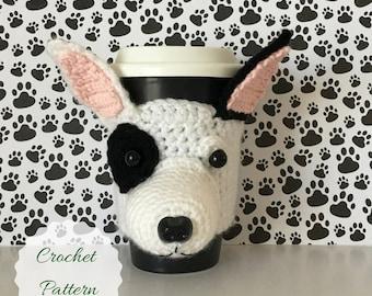 Bull Terrier Crochet Pattern, Dog Amigurumi, Crochet Pattern Dog, Dog Crochet Pattern, Crochet Dog Pattern, Mug Cozy Pattern, Amigurumi Dog