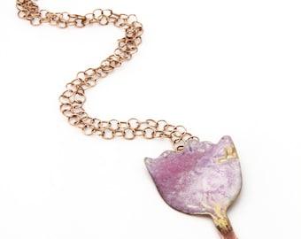 Pink kintsugi tulip pendant