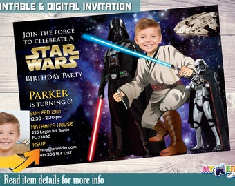 Star Wars Birthday Party Invitation. Turn your kid into a Jedi! Darth Vader & Captain Phasma. Star Wars Invitation. Star Wars Party Idea 005