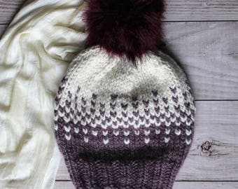 handknit winter hat in purple and white with faux fur pompom, woolen beanie, women's slouchy hat, alpaca chunky hat