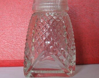 Vintage NEW Soviet Glass Crystal Salt Shaker. Height 6,5 cm / 2,6 inches.