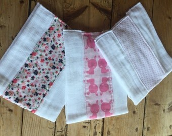 Cotton prefold diaper bib, burp clothes made with flannel or cotton inserts, perfect for baby gift for baby boys, and baby girls, set of 3