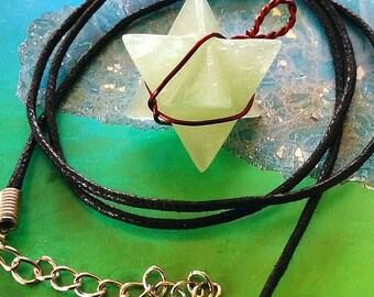 GREEN AVENTURINE Crystal 3D MERKABA Star Pendant with Copper Wrap, Sacred Geometry Merkaba Necklace, With Hemp Chain