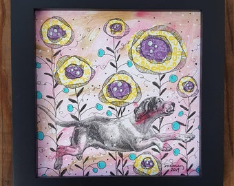 "Happily Bounding-Framed 6x6"" Mixed Media Collage, dog"