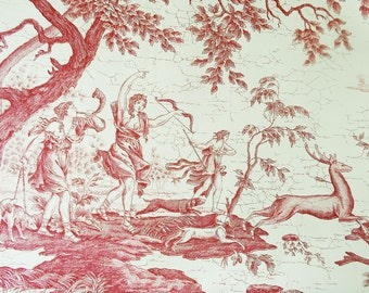 Large Toile de Jouy French Fabric Vintage Red and Cream White