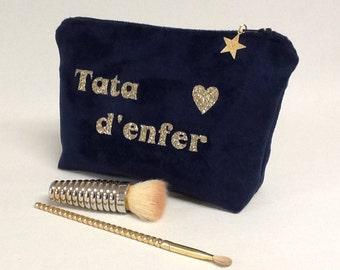 Make-up bag / customizable kit / gold glitter message pouch