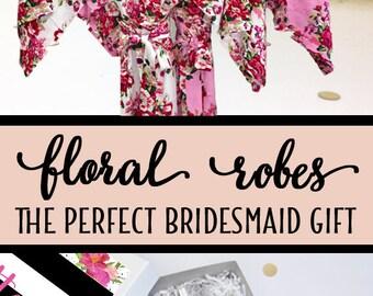 Bridesmaid Robes, 5 Colors, Bridesmaid Gift, Floral Robe, Bridal Party Robes, Set of Bridesmaids Robes, Wedding Robe, Cotton Bridesmaid Robe