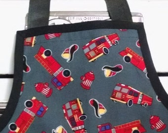 Boys Fire Truck Apron with Pockets Birthday Gift for Kids Childrens Apron