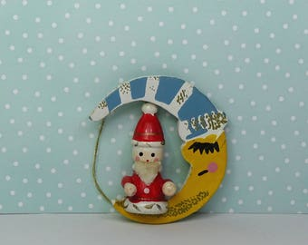 Vintage Christmas Santa moon ornament 1960s wooden white yellow