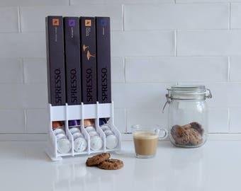 White Nespresso Coffee Capsules Holder, 40 capsule Storage Rack, CounterTop Stand, Coffee holder Organizer, Coffee Lover Gift, Kitchen Decor