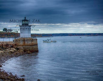 Bug Lighthouse, Maine, Portland Head Light, Casco Bay, Harbor, Christmas, Hanukkah, Clouds, Cape Elizabeth, Photo, Photography, Photograph