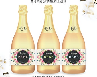 Baby Shower Mini Champagne Labels, Bonjour Bebe Favor, Pregnancy Reveal Labels, Baby Sprinkle Decorations, Baby Shower Labels