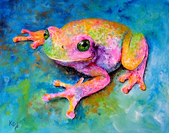 Frog Painting - Frog Decor, Frog Art, Frogs, Psychedelic Art, Frog Wall Art, Amphibian Art. 18 x 22 inches. Acrylic on Canvas.