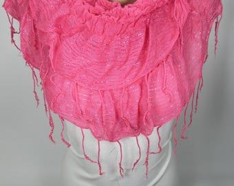 Ruffle Scarf Sparkle Scarf Pink Scarf Shawl Women Fashion Accessories Winter Scarf Holiday Gift Christmas Gifts For Her For Women