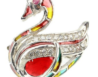 Edwardian Naturalism 925 Sterling Silver Ruby & White Topaz plique-a-jour Enamel Novelty Duck Swan Ring (USA 6.75, UK N 1/2) Truly Venusian