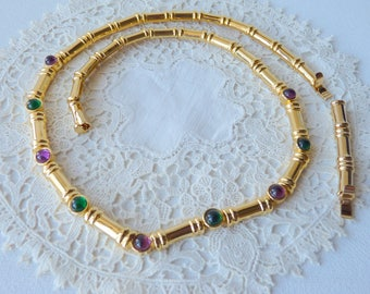 Vintage MINT Gold Tone Necklace, Linked Gold Purple Green Accent Necklace with Removable Extension, Gold Costume Jewelry, 80's Necklace