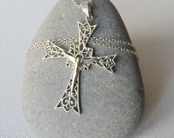 Vintage Sterling Silver Filigree Cross Pendant Chain Necklace Lanaggi Sterling Cross Pendant, Modernist Cross Necklace, Christian Jewelry