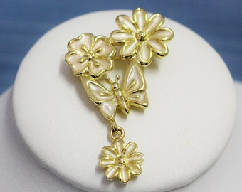 Vintage Brooch Pin Signed TC Two small Flowers with Butterfly Small Dangling Flower Charm Pearlised Neutral Colour Enamel and Gold Tone