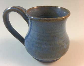 Handmade Blue Pottery Mug, Blue Stoneware Mug, 12oz Pottery Mug, Small Mug, Coffee Mug, Tea Cup, Ceramic Mug