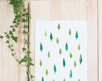 A4 Handprinted illustration | Trees