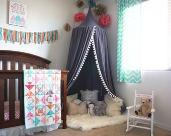 Pompom Play canopy in grey cotton / hanging tent/ hanging canopy