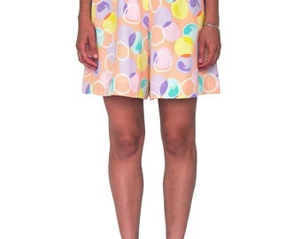 COURREGES 80s Circle Print Shorts SIZE S Vintage Pink High Waist Culottes Andre