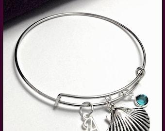 Seashell bangle bracelet, seashell charm bracelet, birthstone bracelet, Shell bracelet, personalized bracelet, shell bangle bracelet