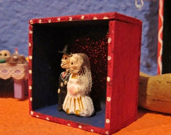 Dia De Los Muertos Wedding Couple - Small Shadow Box