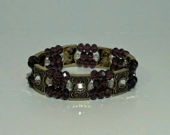 Purple Bead Bracelet with Swarovski accents