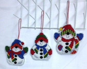 Handmade Set of Snowman Ornaments, Christmas Ornaments Cute Snowmen Completed Cross Stitch Snowman Collection Colorful Gifts Ready To Ship