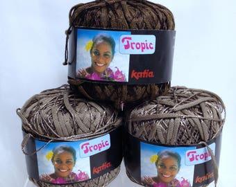 Tropic Katia Yarn Exotic Brown Tones Varying Width Shimmering Yarn, Vintage Luxury Yarn Art Yarn Bundle Spanish Cotton Blend Yarn Destash