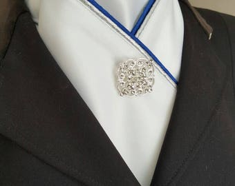 Stunning royal blue and silver piped Equestrian Pzazz stock tie