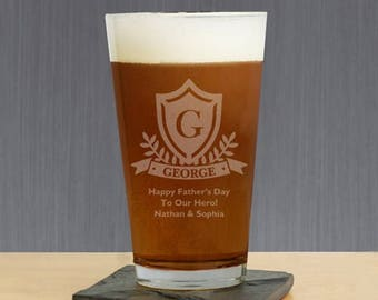 Engraved Crest Pint Glass, Engraved Beer Glass, Personalized Pint Glass