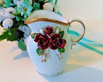 White Victorian Ceramic pitcher vase, floral relief rose bouquet, gold trim, embossed floral design, mid century, 5 inches, home decor