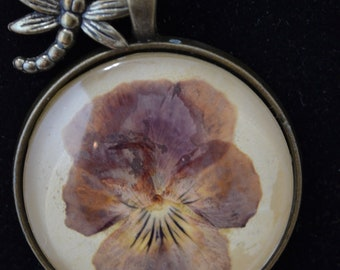Pressed Flower Pendant, Pansy, Pressed Flower Jewelry, Dragonfly, Personalize, Gardener Gift, Mother Gift