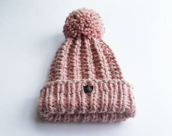 Blush Pink Bobble Hat. Thick chunky womens hand knit pom pom beanie. Wool and premium acrylic blend. Large detachable pom pom. HoBo Handmade