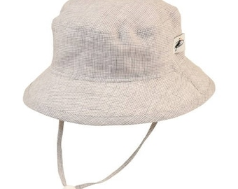 Child's Sun Protection 100% Linen Camp Hat - Summer Day Linen in Grey Check (6 month, xxs, xs, s, m, l)