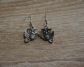 Earrings silver owls owls ages Tibetan
