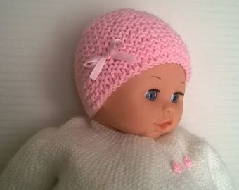 Wool baby girl Pink Hat with light pink satin ribbon bow light baby size 0/1