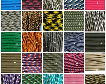 100ft of 550 Paracord Mil Spec Type III 7 strand parachute cord SAME DAY Fast Shipping 40 Colors Huge Selection
