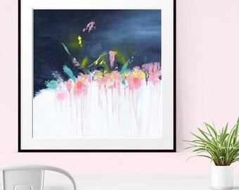 ABSTRACT ART, Abstract print, Giclee print,  Modern Art, Contemporary Art, Fine Art Print, Navy Blue, Pink, Wall Art