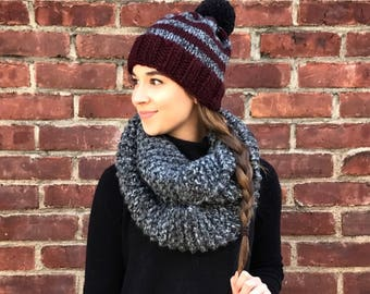 Knit Hat and Scarf Set, Striped Hat, Burgundy & Gray Knit Hat, Black Pom Pom Hat, Gray Infinity Scarf, Knit Beanie, Winter Hat and Scarf Set