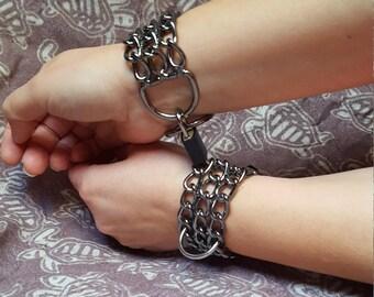 Bondage Cuffs, Black Chrome, BDSM Cuffs, Locking Wrist Cuffs, Bondage toys, BDSM toys, Bondage Set, Sex Toys, Adult Toys