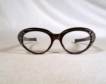 fabulous vintage sunglasses lunettes eyeglasses 1960 cat eye carved decorated frame france rare